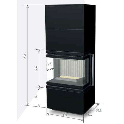 Medidas de la estufa 60B U (1+2)
