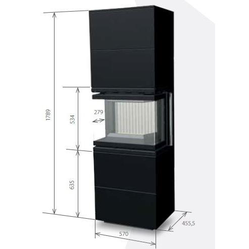 Medidas de la estufa 60B U (2+2)